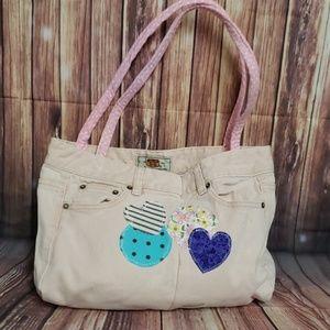 Handbags - OOAK handmade jean purse bag pink